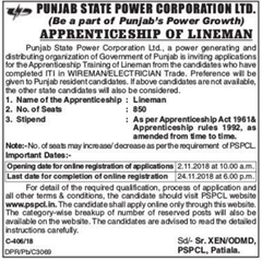 PSPCL Advertisement 2018 www.indgovtjobs.in