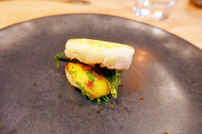 Willow PDX Portland Dining Month menu 2016 - starter snack of a amuse bouche of an Itty Bitty McMuffing with squash glaze, egg yolk, dehydrated kale, their own mini muffin