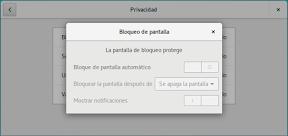 Como configurar GNOME con detalle. Configuración personal. Privacidad. Bloqueo de pantalla.