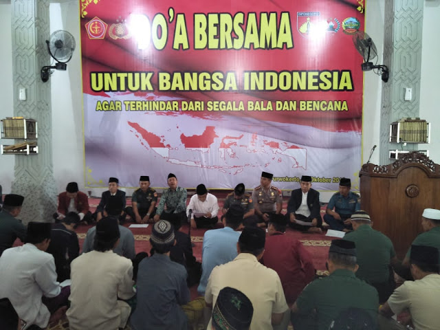 KOREM 071/WIJAYAKUSUMA BERSAMA KOMPONEN BANGSA LAKSANAKAN DOA BERSAMA UNTUK BANGSA INDONESIA