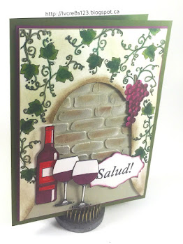 Linda Vich Creates: A Little Wine. A mixed media card that uses molding paste, inks, and Inktense Watercolor pencils to set the scene for this celebratory anniversary card.