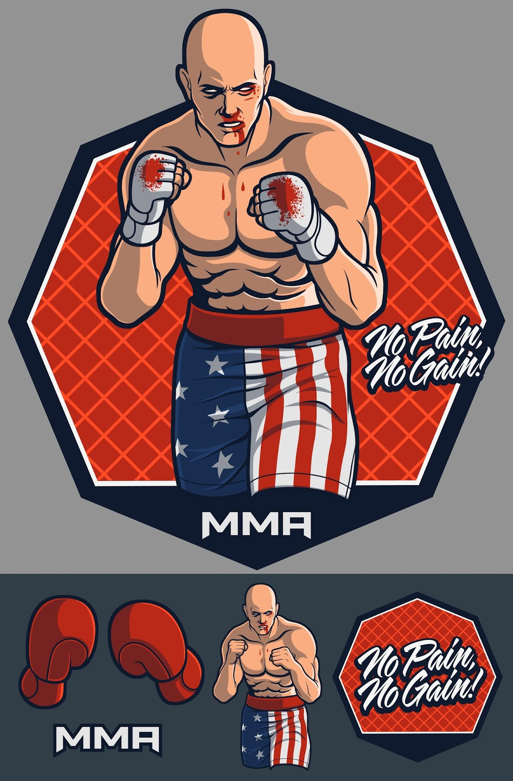 Mma Fighter With Optional Gloves Free Download Vector CDR, AI, EPS and PNG Formats