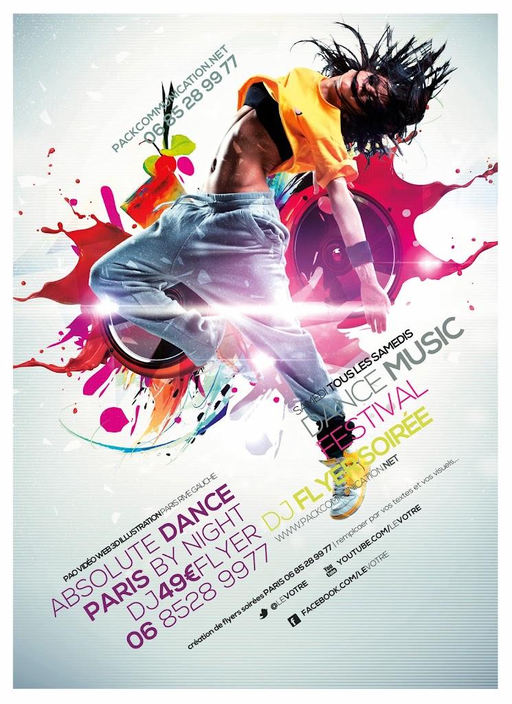 création flyers soirées thème Absolute Dance