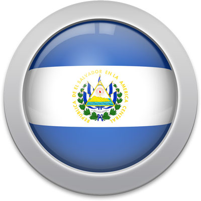 Salvadoran flag icon with a silver frame