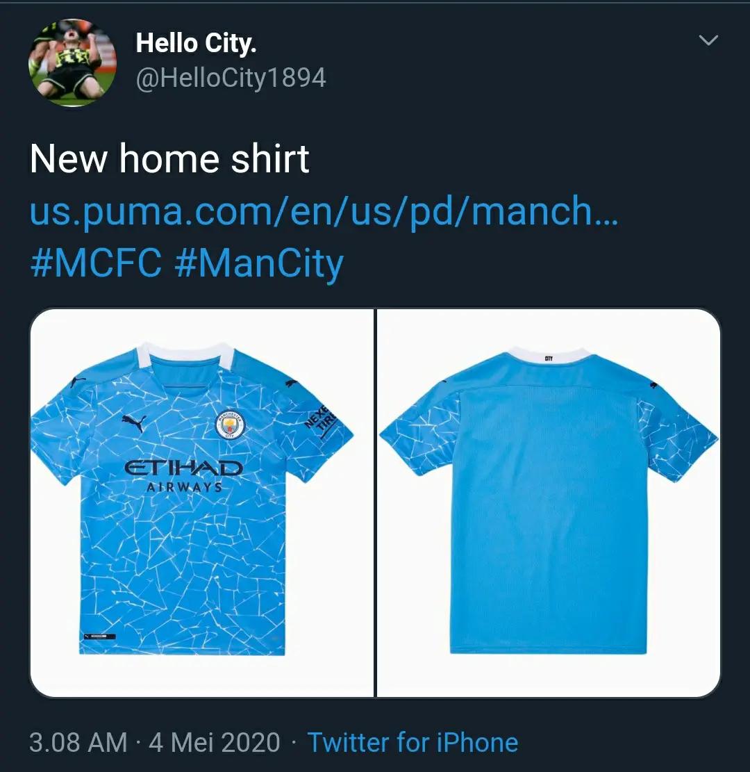 Bocoran Jersey Manchester City Home musim depan 2020/2021