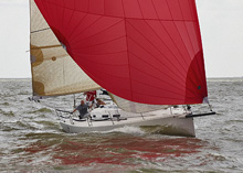 J/109 one-design racing cruising sailboat- sailing Galveston Bay, Tx
