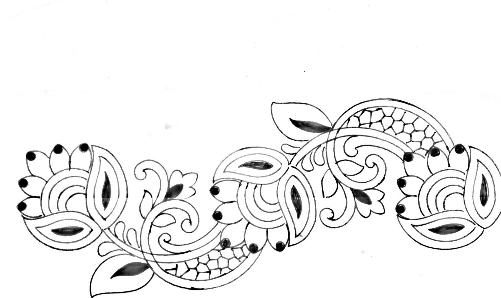 Saree border design drawing || said ka kinara drawing || sari border design drawing with pencil art for embroidery...