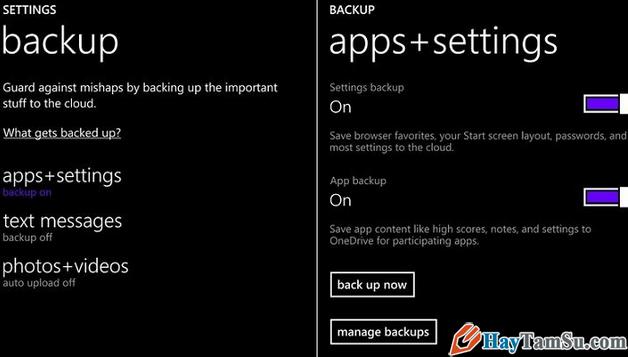 backup dữ liệu trước khi khôi phục cài đặt gốc cho điện thoại Windows Phone