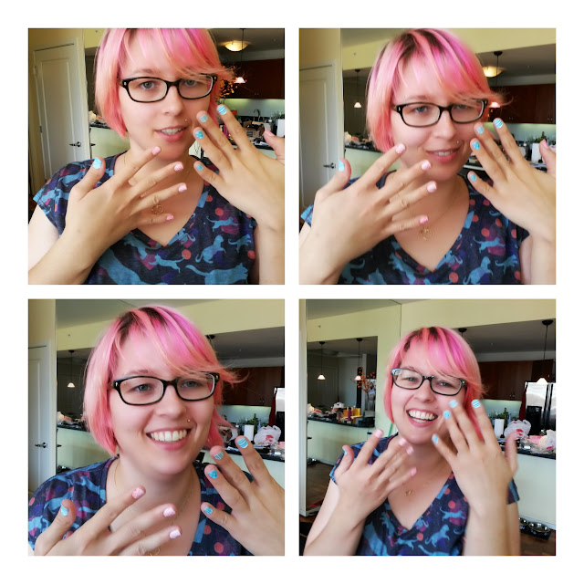 4 photos of my nails. Tom kept making me laugh when I was trying to be serious, so it was difficult to take a decent photo.