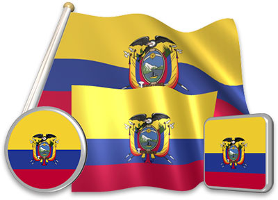 Ecuadorian flag animated gif collection