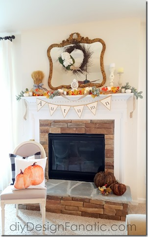 Autumn mantel, fall mantel, pumpkins, white pumpkins, farmhouse, cottage, fall banner, autumn banner