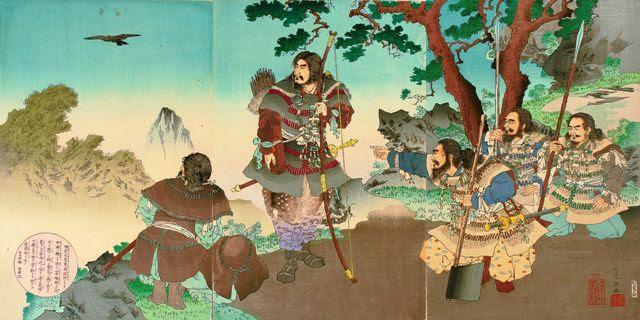 El Emperador Jinmu Tennō contemplando el legendario Yatagarasu