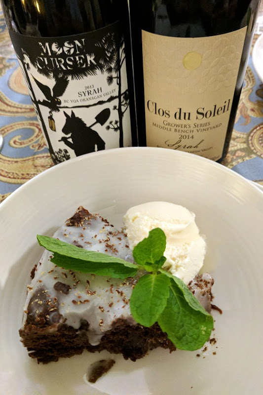 Moon Curser 2013 Syrah & Clos du Soleil 2014 Syrah with Double Chocolate Fudge Brownie Cake