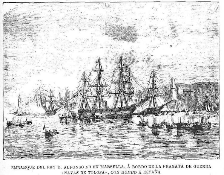 Salida de Marsella de la NAVAS DE TOLOSA. Revista Por esos mundos. Edición 1 de mayo de 1902.png