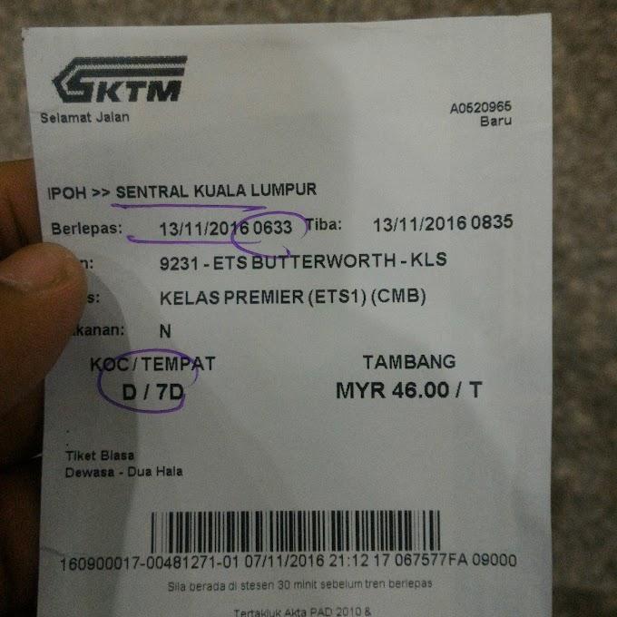 Tiket Platinum ETS Ipoh - KL