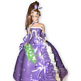 28. kép: Formatorták (lányoknak) - Barbie torta lila ruhával
