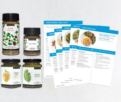 Four Epicure Seasonings and Five Recipe cards for the Greek Collection
