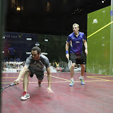 Ramy digs deep against Nick Mathew in the first match during Squash Showdown at Boston Symphony 2012