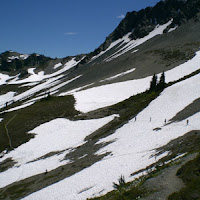 Crossing snow-fields to Hayden Pass