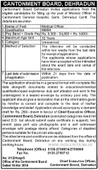 Cantonment Board Dehradun Recruitment 2016 Medical Officer
