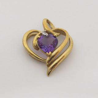 10K Gold & Purple Stone Heart Pendant