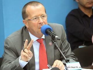 Martin Köbler, représentant spécial du secrétaire général de l'Onu pour la RDC le 02/04/2014 à Kinshasa, lors de la conférence de presse au quartier général de la Monusco. Radio Okapi/Ph. John Bompengo
