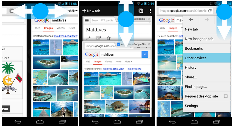 Chrome for Android Swipe Gestures