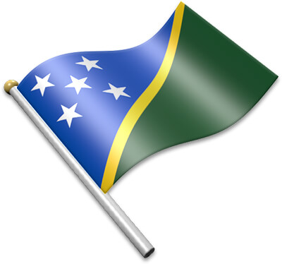 The Solomon Island flag on a flagpole clipart image
