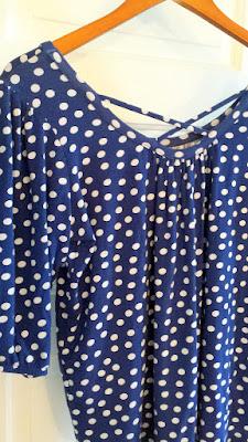December 2015 Stitch Fix item of Pixley blue Tracy Dot Print Cross Back Knit Top