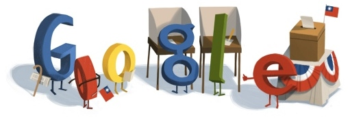 Google logo modified to indicate people voting in Taiwan