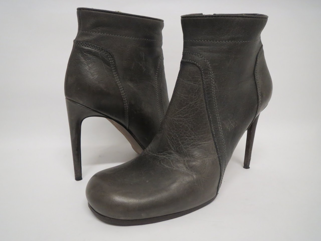 Rick Owens Grey Ankle Boots