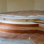 Marble tile, cherry-wood risers