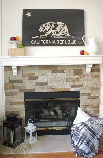 California Republic Flag over Fireplace Mantel