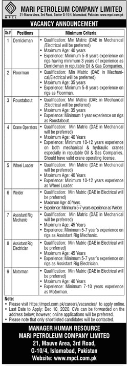 Mari Petroleum Company Limited MPCL Islamabad Jobs December 2020
