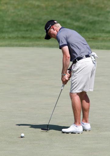 Hudson Carpenter Stillwater Minn. drops his putt at the 2nd green during sectional qualifying for the U.S. Amateur Ch&ionship July 13 at Dacotah Ridge ... : us amateur sectional qualifying - Sectionals, Sofas & Couches