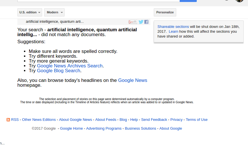 Issue with personalised news results - Google News Help