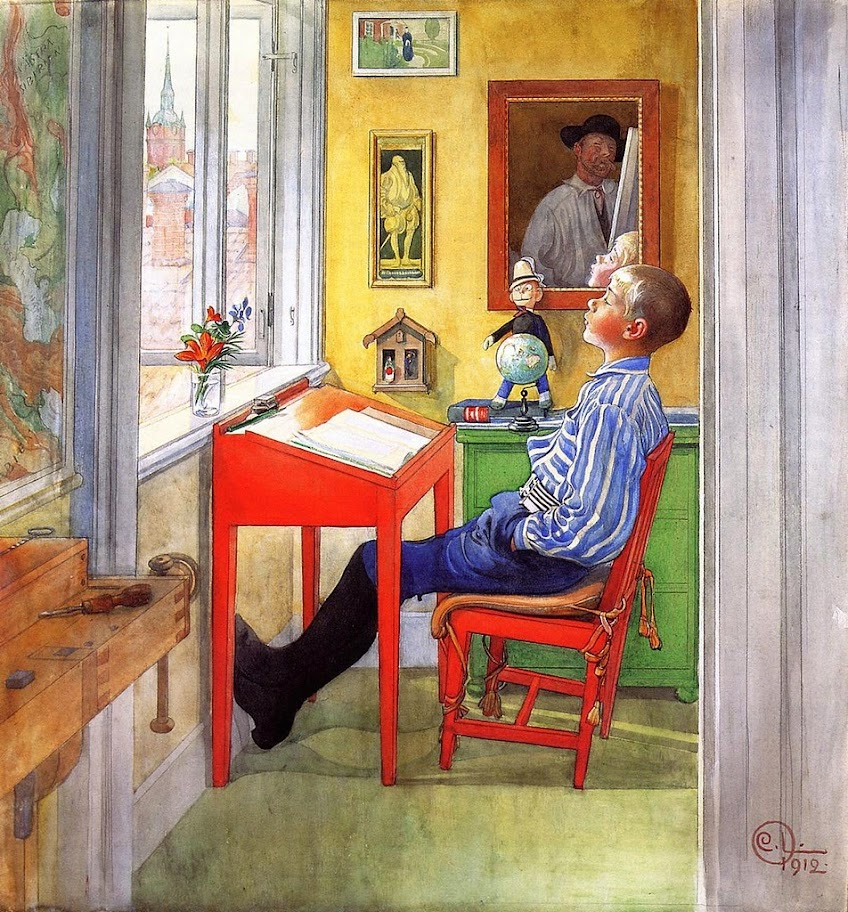 Carl Larsson - Esbjorn Doing His Homework