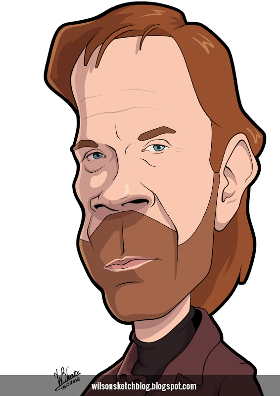 Cartoon caricature of Chuck Norris.