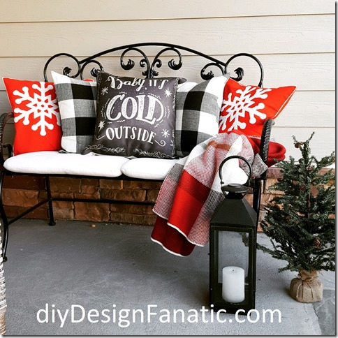 fall porch, fall , fall pillow covers, cottage style, farmhouse style, buffalo check, christmas