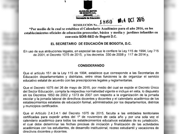 Calendario 2106.Resolucion 1860 De 2015 Calendario Academico 2016