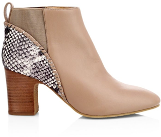 beige middle-heeled booties with snake print accent
