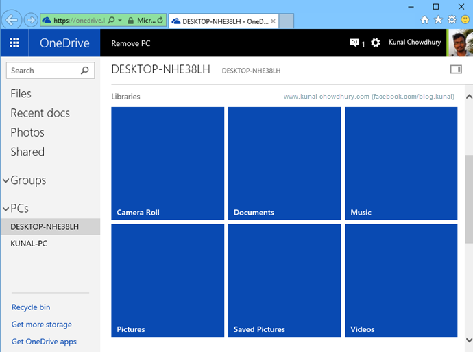 Improvements in OneDrive for Windows 10 - System Libraries View (www.kunal-chowdhury.com)
