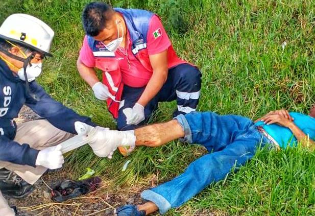 Migrante se resbala y cae del tren en Xaloztoc