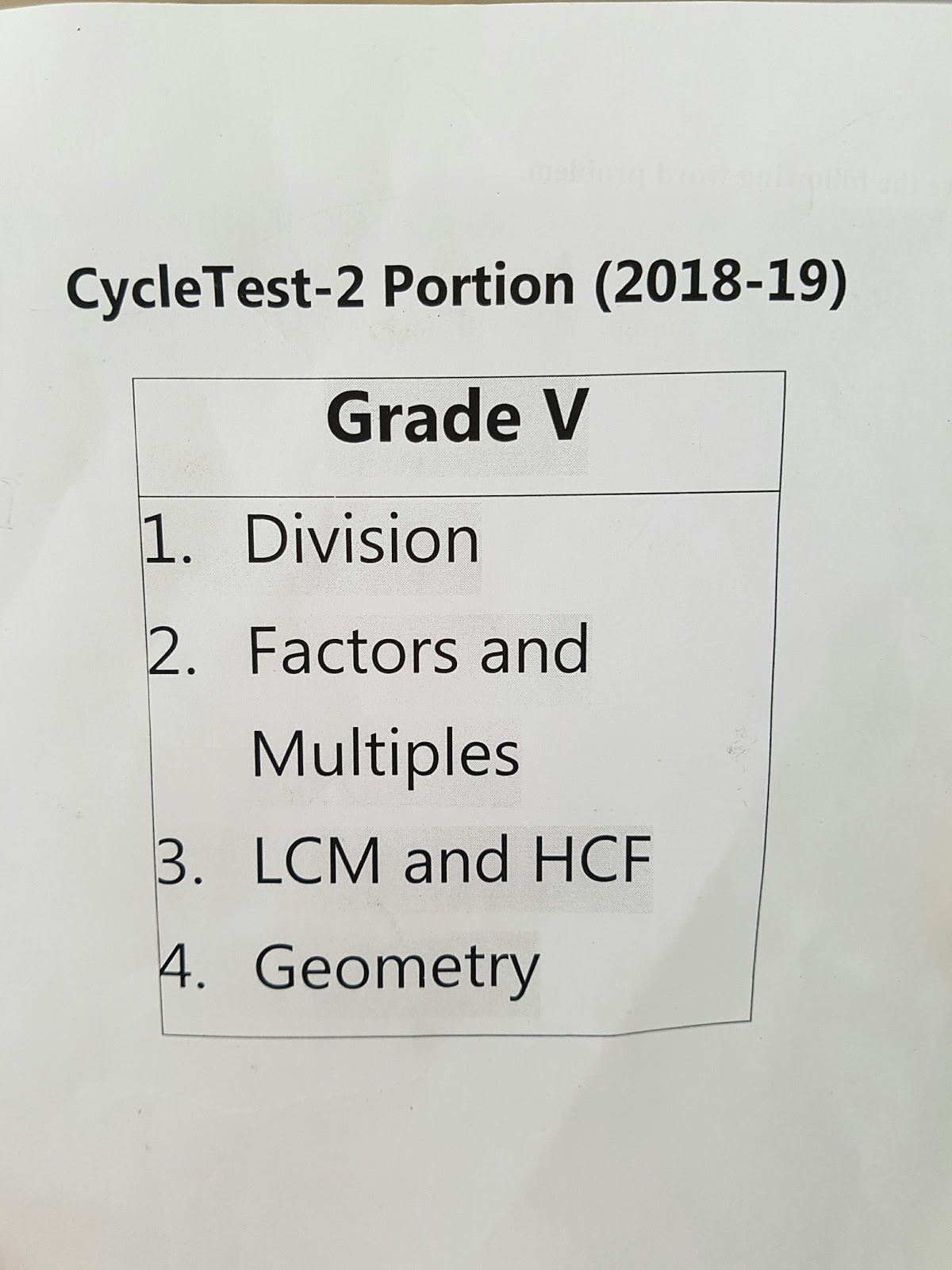 Grade 5- Maths - Cycle test 2 syllabus