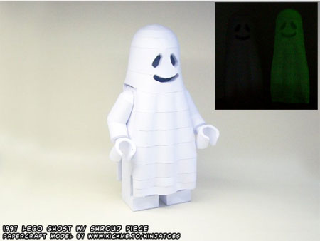 Glow in the Dark Lego Ghost Papercraft Halloween 2011