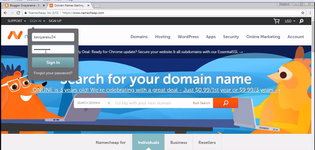 login-to-namecheap-account
