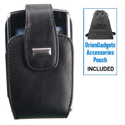 Leather Vertical Pouch Case w/ Swivel Belt Clip (OEM) for BlackBerry Bold 9700 (Black) (Includes OrionGadgets Accessory Pouch)