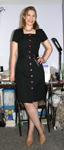 Marfy 2759: Shirt dress (pinstripe wool suiting)