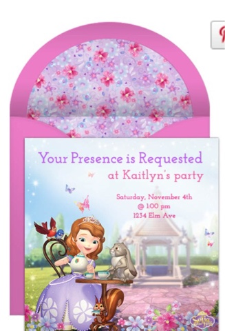 Sophia the first invitations