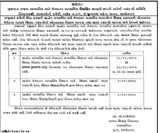 Gujarat Secondary and High Secondary Bharati 2016 Jilla and School Pasandgi Camp Notification.